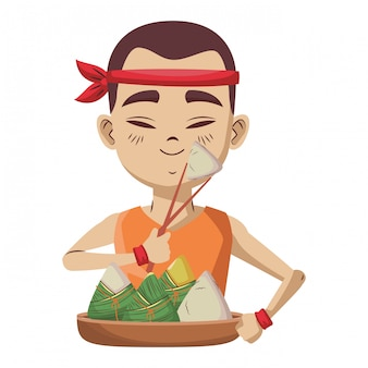 Asian man with rice dumplings