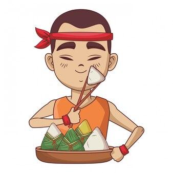 Азиатский мужчина с рисовыми клецками