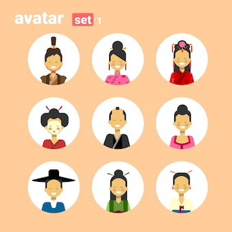Asian man and woman avatar set icon female male in traditional costume profile portrait collection
