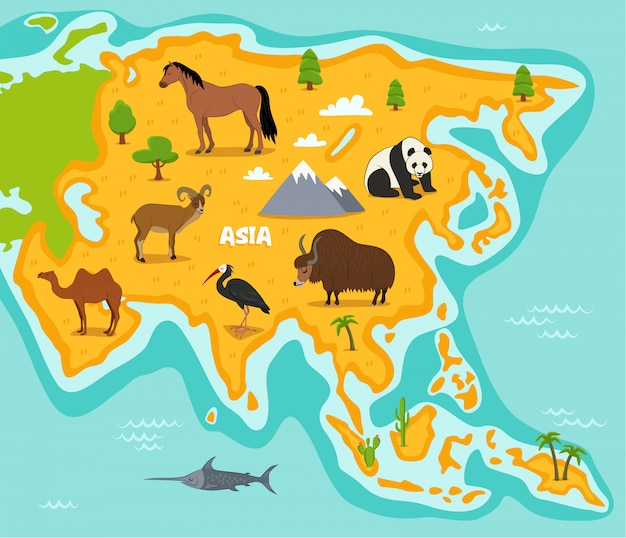 Asian map with wildlife animals