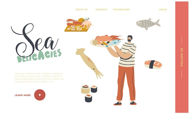 Asian or mediterranean cuisine landing page template.