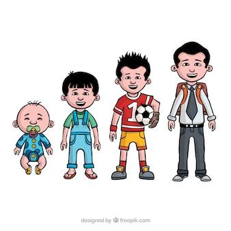 Collezione di uomini asiatici in epoche diverse