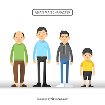 Asian men collection in different ages