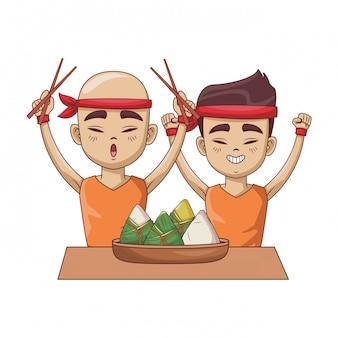 Азиатские мужчины с рисовыми клецками
