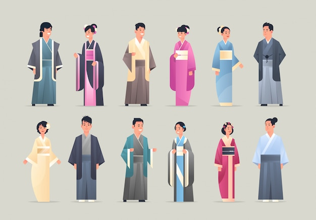 Іуе asian men women wearing traditional clothes smiling people in national ancient costumes standing pose chinese or japanese male female cartoon characters full length flat horizontal