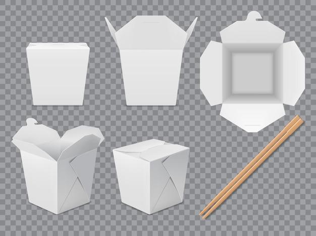 アジアンヌードルボックスパッケージモックアップ。分離紙中国テイクアウトフードボックスセット。棒で白い中華なべの包装。ベクトル3dテイクアウトフードパックと竹箸、閉じた状態と開いた状態のリアルなボックス