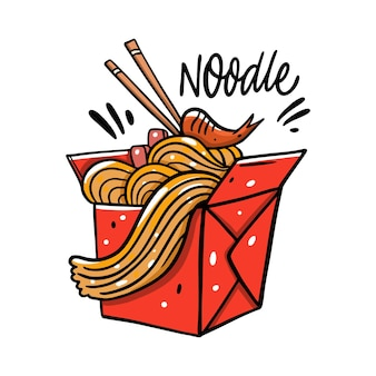 Asian noodle in red box cartoon illustration