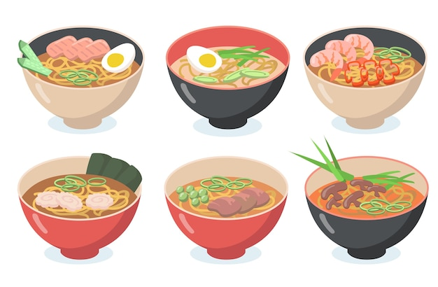 Asian noodles set. bowls with soup, udon, eggs, green vegetables, beans, seafood, mushrooms.