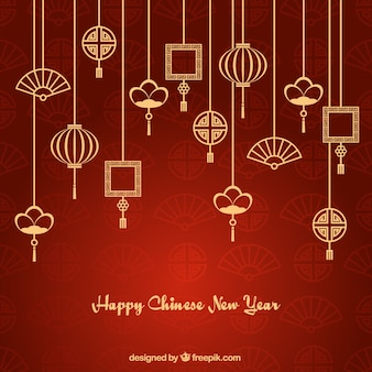 Asian ornaments garlands new year background