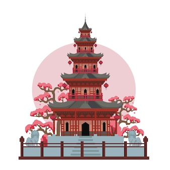 Asian pagoda temple in japan. color vector flat cartoon illustration isolated on sun and white