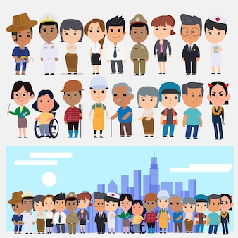 Набор азиатских людей