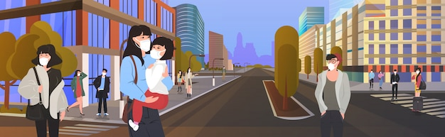 Asian people wearing protective masks to prevent epidemic mers-cov wuhan coronavirus 2019-ncov pandemic medical health risk men women walking city street horizontal cityscape