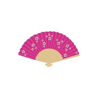分離された桜の花フラットベクトルイラストで飾られたアジアのピンクのファン