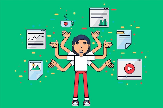Asian programmer at work. eastern seo specialist or freelancer with many hands programming new database or application coding. web designer, developer and it engineer concept flat vector illustration
