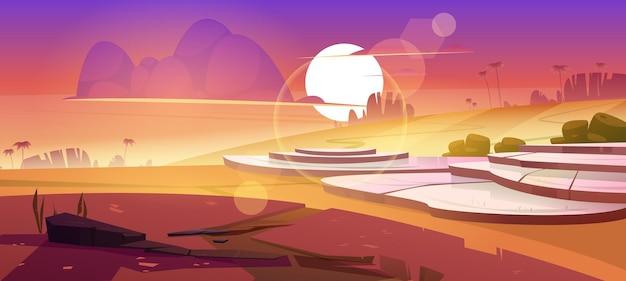 山の夕日の風景水田プランテーションカスケードの山の岩のアジアの田んぼのテラス
