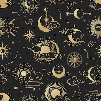 Asian seamless pattern with clouds, moon, sun, stars . vector collection in oriental chinese, japanese, korean style.