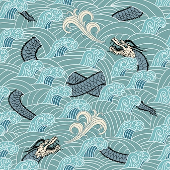 Азиатские бесшовные с драконом и волнами