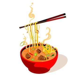 お箸でお皿に盛り付けたアジアンスープ。白い背景で隔離のベクトル色フラット漫画イラスト。