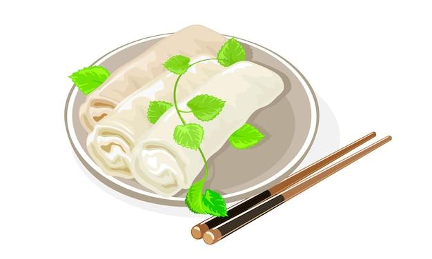 Азиатские блинчики с начинкой подают с зеленью на тарелке.