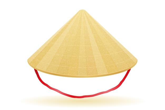 Азиатская соломенная традиционная шляпа иллюстрация, изолированные на белом фоне