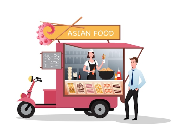 Asian street market food truck. cartoon van stall marketplace with takeaway barbecue food, young man character buying bbq on festival fair in city park or road
