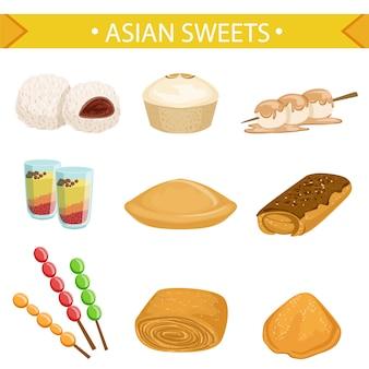 アジアのお菓子セット、白い背景にさまざまな料理イラストの伝統的なデザート
