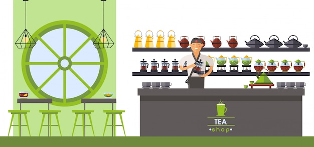 Asian tea shop, tea ceremony supplies. seller pour drink from teapot,  illustration. man behind counter, different teapots