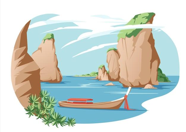 アジアのタイの海辺の伝統的な休息休暇の風景マウンテンコーストシーサイドビューフラットとシービーチ