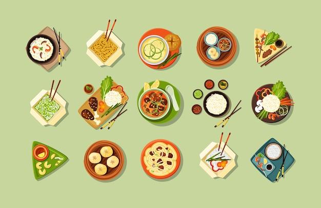 アジアの伝統的な料理とファーストフードセットのイラスト