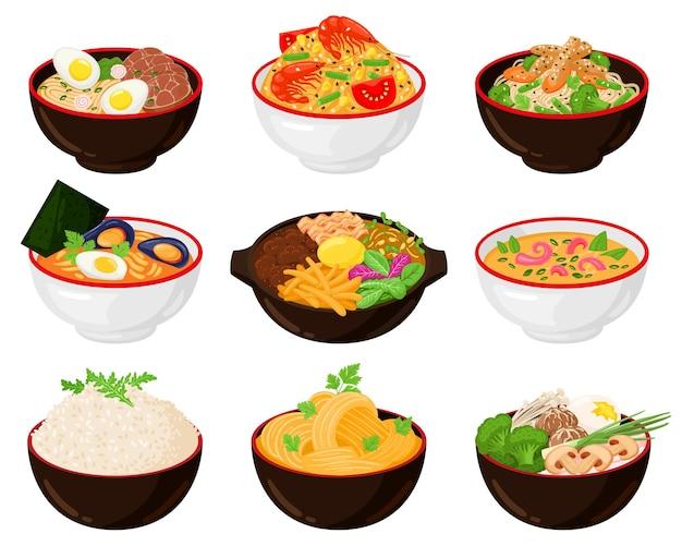 アジアの伝統的な料理の麺、中華鍋、スープボウル。日本のそば、うどん、ラーメンの箸とラーメンのスープボウルベクトルイラストセット。伝統的な韓国料理、日本料理