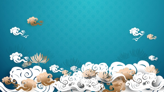 Asian traditional gold and white floral with clouds background
