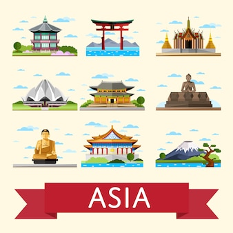Asian travel set with famous attractions