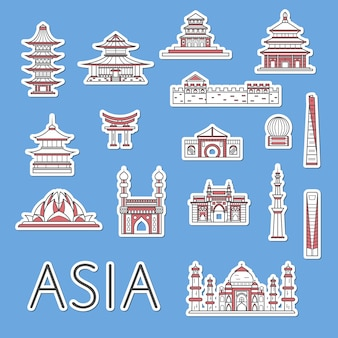 Asian traveling labels set in linear style