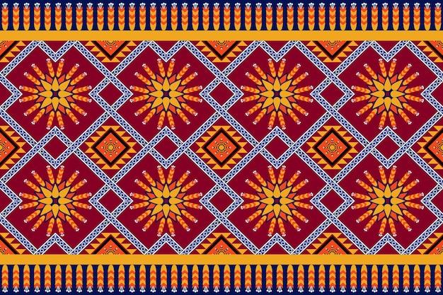 アジアのヴィンテージ花柄エスニック幾何学的な東洋のシームレスな伝統的なパターン。背景、カーペット、壁紙の背景、衣類、ラッピング、バティック、ファブリックのデザイン。刺繡スタイル。ベクター。