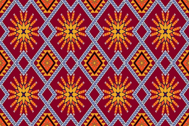 アジアのヴィンテージ花柄民族幾何学的な東洋のシームレスな伝統的なパターン。背景、カーペット、壁紙の背景、衣類、ラッピング、バティック、ファブリックのデザイン。刺繡スタイル。ベクター。