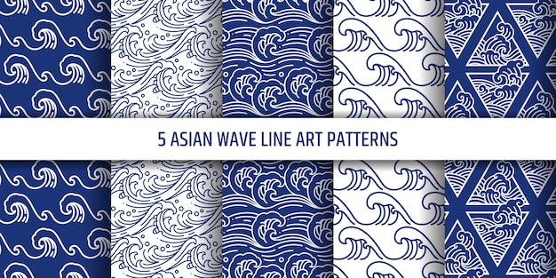 Asian water sea wave  seamless pattern set.