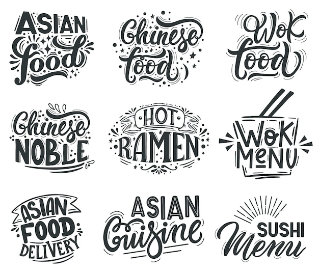 Asian wok. noodle, ramen and wok cafe menu lettering quotes, asian traditional food labels