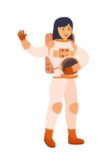 白に手を振ってヘルメットを保持しているアジアの女性宇宙飛行士