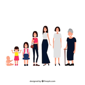 Asian woman in different ages