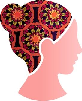 아시아 여자 얼굴 실루엣 프로필 아이콘입니다. 꽃 장식 장식으로 중국 또는 일본 여성. 다인종 평등, 페미니즘과 여성 권리 보호 개념, 벡터 일러스트 레이 션