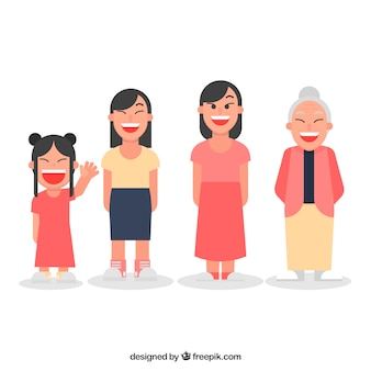 Азиатская женщина в разном возрасте