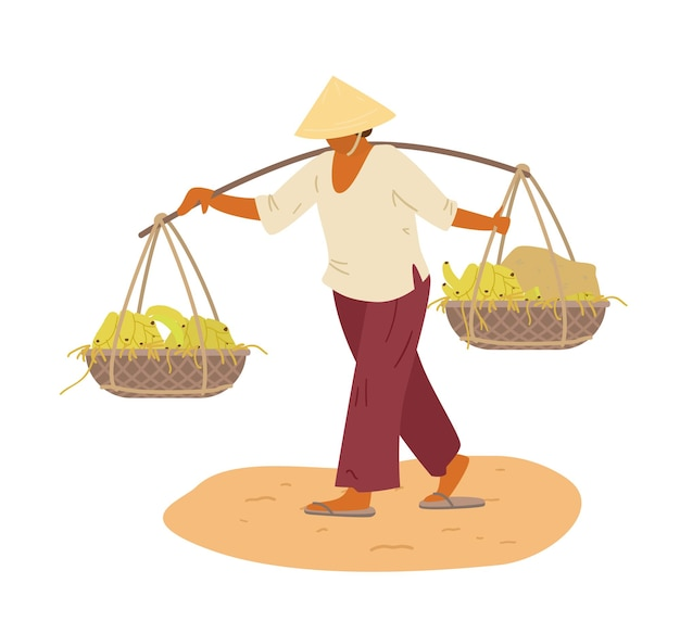Asian woman in traditional vietnamese conical hat carrying yoke with whicker baskets with bananas.