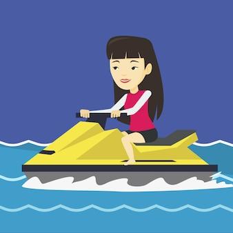 Азиатская тренировка женщины на гидроцикле в море.