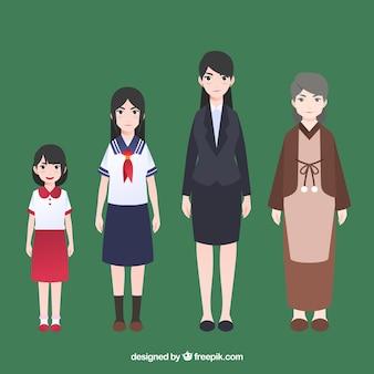 Collezione di donne asiatiche in epoche diverse