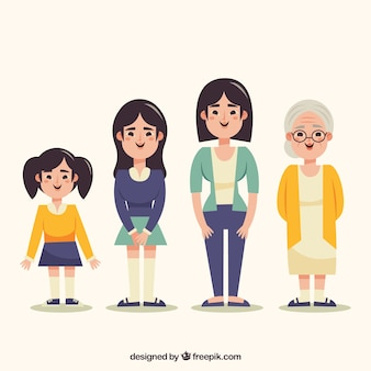 Asian women collection in different ages