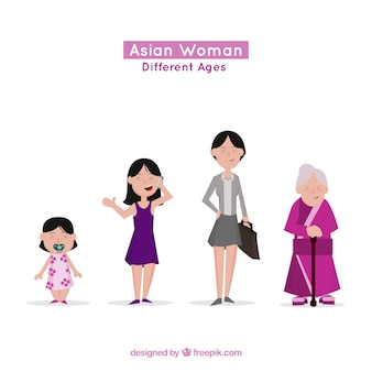 Asian women collection in differente ages