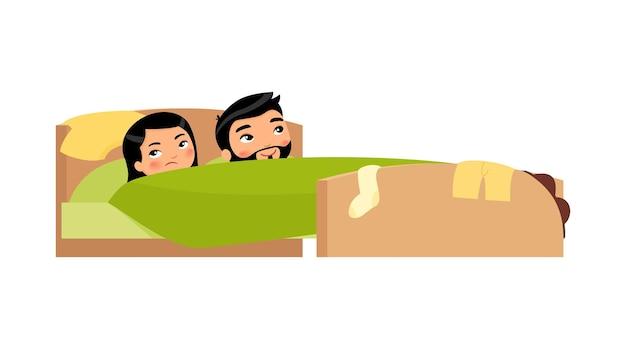 Giovani coppie asiatiche a letto uomo soddisfatto e donna dispiaciuta problemi sessuali concept