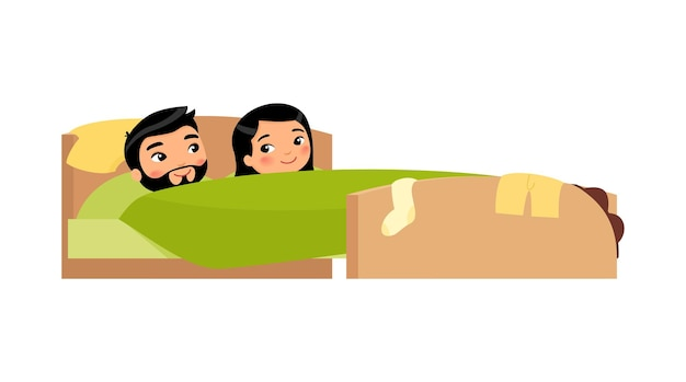 침대에서 웃고 있는 아시아 젊은 부부 옷이 흩어져 있다 만족한 남자와 여자 행복한 결혼 생활