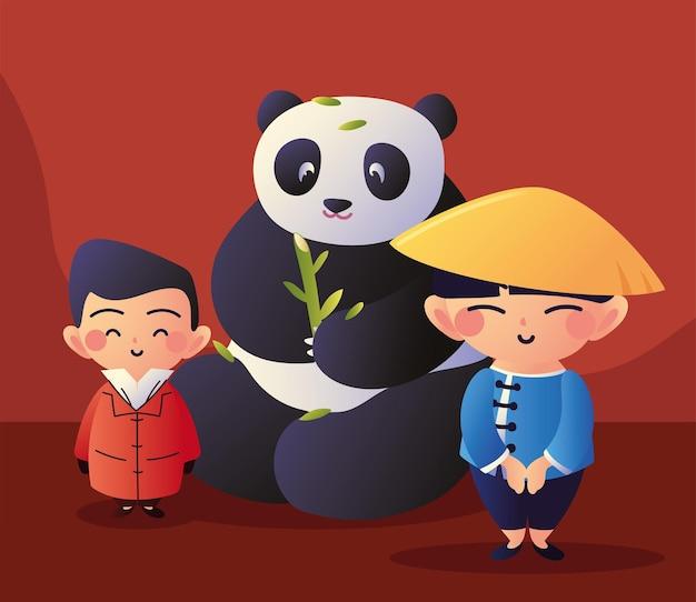 Мужчины азии с пандой
