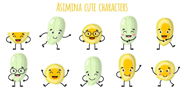 Asimina fruit cute funny cheerful characters with different poses and emotions. natural vitamin antioxidant detox food collection.   cartoon isolated illustration.